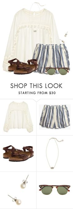 """~I really really want this outfit to wear at the beach~"" by flroasburn ❤ liked on Polyvore featuring H&M, Madewell, Birkenstock, Kendra Scott, J.Crew and Ray-Ban"