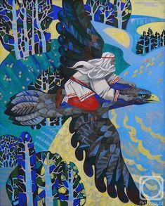 Kolobova Margarita: Flight of Väinämöinen (Kalevala). Inspiration for Tolkien? Russian Painting, Russian Art, Illumination Art, Pagan Art, Fairytale Art, Inspirational Artwork, Tolkien, Art Lessons, Drawing Lessons