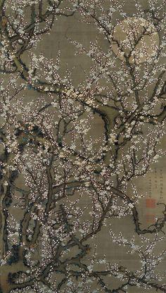 Itō Jakuchū (1716–1800), White Plum Blossoms and Moon, Edo period, 1755