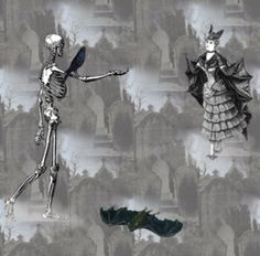 Macabre Halloween fabric at Spoonflower #DIY