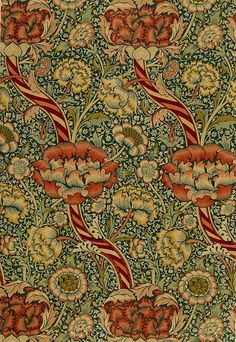 `Wandle` printed fabric, manufactured by Morris and Co. and Aymer Vallance, from `The Art of William Morris`, pub. Textiles, Textile Patterns, Textile Design, Floral Design, William Morris Patterns, William Morris Art, Motifs Art Nouveau, Art Deco, Floral Ribbon