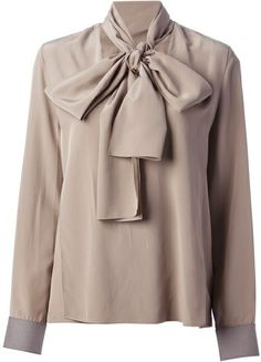 5fa02cb2aea729 Victoria Beckham Gray Pussy Bow Blouse Brown Long Sleeve Shirt, Long Sleeve  Shirts, Cream