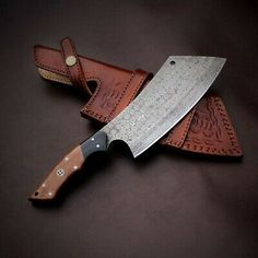 """Condition is """"New"""". Handmade Damascus steel cleaver knife handmade chopper knife chef knife butcher knife gift knife with leather sheath. Handmade Damascus Steel Chopper Knife With Wood Handle. Knife Making Tools, Cleaver Knife, Butcher Knife, Bushcraft Knives, Susa, Knife Sharpening, Perfect Gift For Her, Chef Knife, Damascus Steel"""