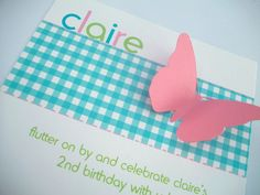 Plaid Pink & Blue Butterfly Invitations Set of by oliviagpaperie, $17.00