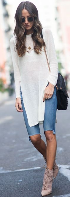 #fall #musthave #trends | White Long Sweater + Kneel Length Denim Shorts