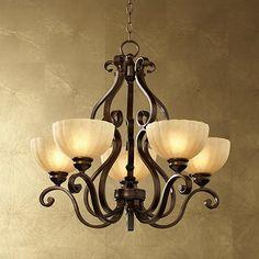 Iron Scroll Golden Bronze Five-Light Chandelier - #41645   LampsPlus.com