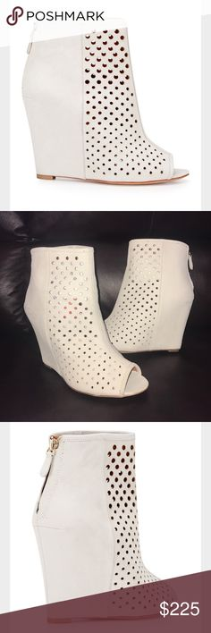 "🌹 new Rebecca Minkoff New no box Rebecca Minkoff Sienna perforated wedge bootie size-8.5 light gray color. Wedge high-4"" Rebecca Minkoff Shoes"
