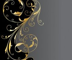 Glossy golden floral ornaments vector background 09