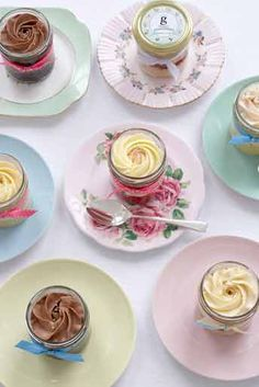 These jam-jar cupcakes are baked in their individual containers. They contain two layers of moist sponge cake and are topped with cream cheese or butter icing. Serve as a fun alternative to traditional sliced wedding cake, or the handy jar lids make them ideal gifts for your guests to take away