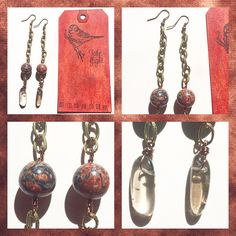 "Long 4.5"" Statement Dangle Etched Chain Earrings with Antique Brass & Copper, Leopard Jasper and Smoky Quartz Points TAKE FLIGHT by TakeFlightStudioWA on Etsy"