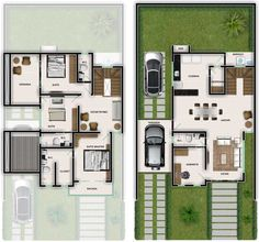 Modern House Floor Plans, Simple House Plans, Dream House Plans, Duplex Plans, Classic House Design, Architectural House Plans, Narrow House, Architecture Plan, House Layouts