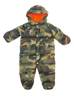 Ralph Lauren Baby Boys. Camouflage print all over. Size: Baby Boys. Perfect for cold climes, this two-toned bunting features 480-fill-power down, which provides superior warmth and minimal bulk. Plus, it comes with removable mittens and booties that attach to the cuffs to keep him cozy. | eBay!
