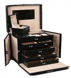 SHINING IMAGE tea2 HUGE BLACK LEATHER JEWELRY BOX / CASE / STORAGE / ORGANIZER WITH TRAVEL CASE AND LOCK  for more details visit :http://jewelry.megaluxmart.com/