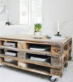 Table basse en palette pour la salle de séjour ou le jardin