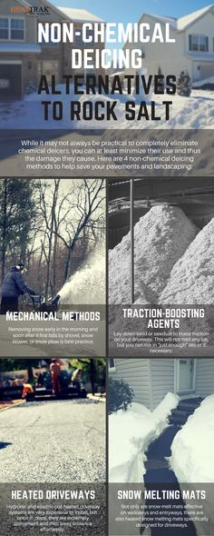 You know that rock salt can hurt your pavement, your lawn and even your pets. If you want some non-chemical deicing alternatives to rock salt, take a look at this handy infographic. Snow Melting Mats, Trade Secret, Pavement, Go Green, Rooftop, Lawn, Infographic, Alternative, Old Things