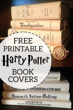 Harry Potter Book Covers Free Printables. Hogwarts Textbook and spellbook decorations for a Harry Potter party. #papertraildesign #gryffindor #slytherin #hufflepuff #ravenclaw #hogwarts #harrypotter #potterhead #hermionegranger #ronweasly