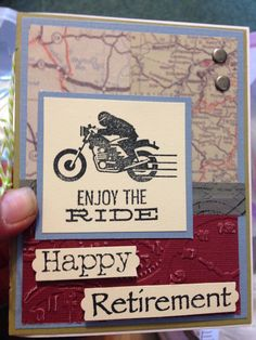 Retirement card for a motorcycle avid!  (Pin#1:  Congrats...Retire...  Pin+: Transportation: Motorcycles...).