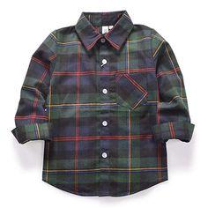 baa8cd072 Amazon.com: OCHENTA Little Big Boys' Long Sleeve Button Down Plaid Flannel  Shirt
