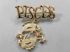 Gold Tone Signed Danecraft Pisces Sign Pin / Brooch