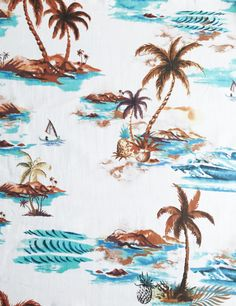 """""""Island Breeze  ❥ Hawaiian vacation print featuring islands, sailboats and pineapples  Tropical island design on white cotton. Colors: White/Cyan Blue/Brown  Made from 100% Cotton  63"""" Wide (160 cm)  Fabric Weight: Medium-Weight  ➳➳➳➳➳➳➳➳➳➳➳➳➳➳➳➳➳➳➳➳➳➳➳➳➳➳➳➳➳➳➳➳➳➳➳➳➳ Did you know we can also make clothing?  ☞ Choose from any fabric carried in our store and we can make you a dress/skirt based on our patterns.  ✂✂✂ To View Patterns Click Below ✂✂✂ http://etsy.me/1PdV2c9  ☞ Please note: We…"""