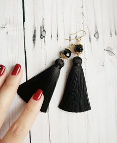 Excited to share the latest addition to my #etsy shop: Black fringe earring Short tassel earrings Black dangle earring Earring findings Large fringe earring Tassel earrings gold Black jet jewelry https://etsy.me/2Jl3tIU #blackfrigeearrings #blacktasselearrings