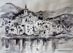 Quickly Sketch. Ink & watercolor  LAURA CLIMENT, Cadaqués. Costa Brava. Sketch Ink, Watercolor, Black And White, Abstract, Costa, Artwork, Painting, Alone Photography, Blanco Y Negro