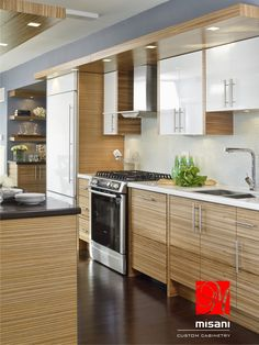 Misani Custom Kitchen - Condo Life - High Gloss Lacquer with Exotic Wood