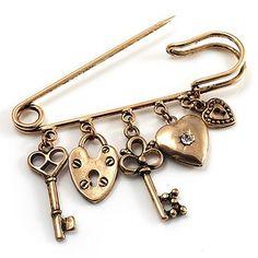 $13.5 Key, Lock And Heart Locket Charm Safety Pin Brooch (Burn Gold Finish)From Avalaya $13.5