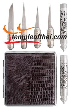 Portable Thai professional fruit and vegetable carving knife set comes in a pocket-sized hard carrying case from TempleofThai.com