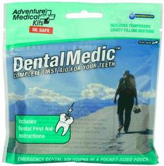Nothing brings a person to his or her knees like a dental emergency - be it an infection, a lost filling, or fractured tooth. The Dental Medic contains the essentials for treating dental pain and injury when a dentist isn't available, from basic supplies like floss, cotton, and oral anaesthetic to more advanced components like temporary cavity filling mixture and dental wax.