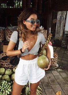 Pinterest | | @AdelineLeeuw Bali fashion crop top striped , white on tan #bali #fashion #stripes