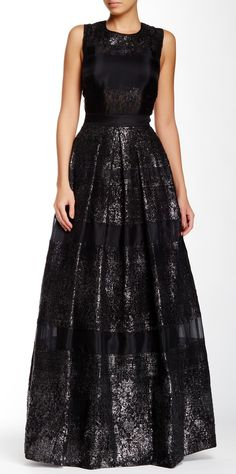 Rebecca Taylor | Foil Lace Silk Gown |   Sponsored by Nordstrom Rack.
