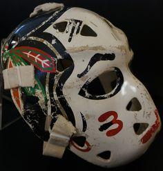 Murray Bannerman Game Used Mask - Chicago Blackhawks Hockey Helmet, Hockey Goalie, Ice Hockey, Chicago Nfl, Chicago Blackhawks, Cool Masks, Best Masks, Rangers Hockey, Goalie Mask