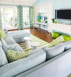Tracy Hardenburg Designs - living rooms - green and blue family room, green and blue living room