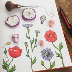 I've started to create a couple of flower stamps. 🌺 Poppies and cornflowers inspired by the midsummer wreath I drew the other day. #viktoriaastrom #wip