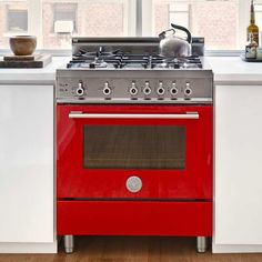 This splashy all-gas Bertazzoni range dresses up rugged stainless steel with fire-engine-red enamel. Its 30-inch frame has four sealed burners and a gas convection oven. Also available in six other color options. About $4,000 from us.bertazzoni.com | Photo Courtesy of Bertazzoni | thisoldhouse.com