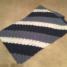 HANDMADE CROCHET AFGHAN/BLANKET/THROW SHADES OF BLUE AND WHITE -FREE SHIPPING #Traditional