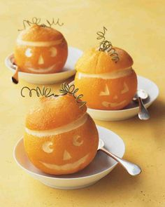 Orange Jack-o'-Lanterns with Sorbet Recipe