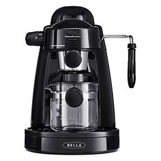 BELLA Personal Espresso Maker with Built-in Steam Wand, Glass Decanter, Permanent Filter & 5 Bar Pressure, Black Best Latte Machine, Best Home Espresso Machine, Espresso At Home, Coffee And Espresso Maker, Espresso Machine Reviews, Coffee Maker Machine, Cappuccino Maker, Cappuccino Machine, Drip Coffee Maker