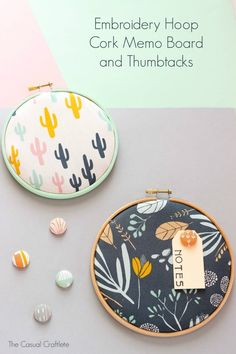 Embroidery Hoop Cork Memo Board and Thumbtacks - easy and cute craft project for the office, craft room, or kids bedroom using Americana Multi-Surface and embroidery hoops! diy and crafts ideas Cute Crafts, Diy Craft Projects, Craft Tutorials, Crafts To Sell, Sewing Projects, Crafts For Kids, Arts And Crafts, Diy Crafts, Embroidery Designs