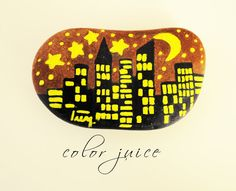 City Lights Painted stone by ColorJuice on Etsy, $15.00