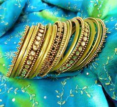 yellow lime indian bangles