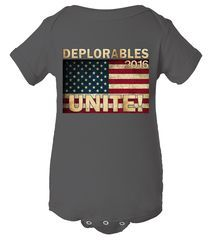 Deplorables 2016 Unite Baby Bodysuit Stand together and let us Deplorables Unite! This Deplorables 2016 Unite design is perfect for Donald Trump fans and makes the best political gear for this 2016 election. Come son all different styles and colors, are you a Deplorable?