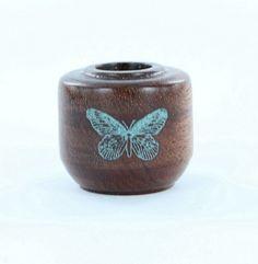 Larrell Howe - Cinnamon Burl turning inlaid with genuine turquoise inlay.