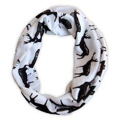 White Black Deer Scarf