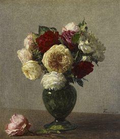 Roses by Henri Fantin-Latour, Collection: National Galleries of Scotland Flower Of Life, Flower Art, Henri Fantin Latour, Gallery Of Modern Art, Rabbit Art, Floral Artwork, National Portrait Gallery, Victorian Art, Art Uk