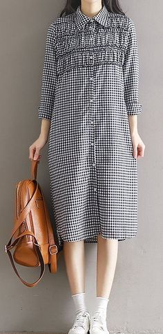 Women loose fitting over plus size plaid checkers dress tunic skirt fashion chic #Unbranded #dress #Casual
