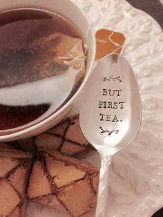 But First Tea vintage hand stamped tea spoon by ThePaperSpoon4U