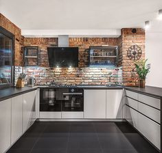 Industrial Kitchen Design, Kitchen Room Design, Kitchen Cabinet Design, Home Decor Kitchen, Kitchen Living, Kitchen Interior, Home Interior Design, Home Kitchens, Brick Design