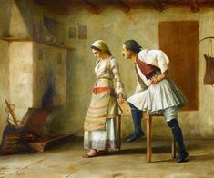 View FLIRTATION By Theodoros Rallis; oil on canvas; Access more artwork lots and estimated & realized auction prices on MutualArt. Greek Paintings, European Paintings, Modern Art, Contemporary Art, Russian Painting, Greek Art, 10 Picture, Couple Art, Old Master